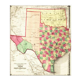 Texas and Indian TerritoryPanoramic Map Canvas Print