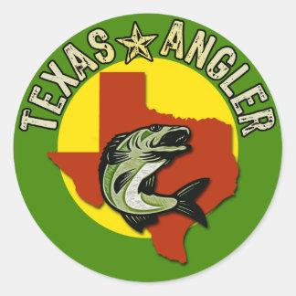 Texas Angler Round Sticker