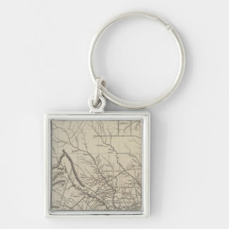 Texas Atlas Map Silver-Colored Square Key Ring