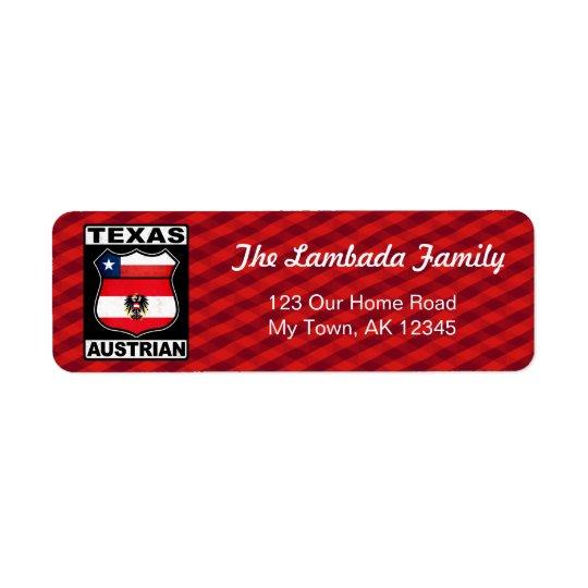Texas Austrian American Address Labels