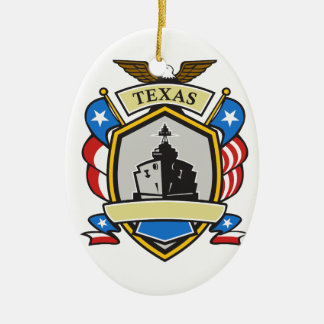 Texas Battleship Emblem Retro Christmas Ornament