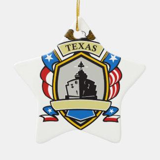 Texas Battleship Emblem Retro Christmas Ornament