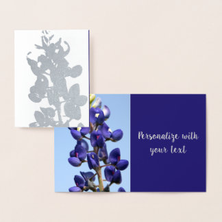 Texas Bluebonnet Silver Foil Note Card