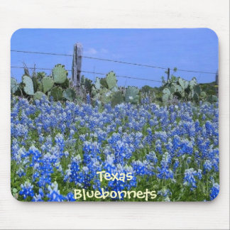 Texas Bluebonnets & Cactus at the Farm Mousepad