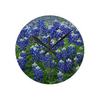 Texas Bluebonnets Field Photo Round Clock