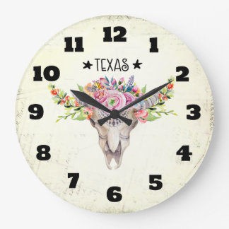 Texas Boho Cow Skull With Flowers Chic Trendy Large Clock