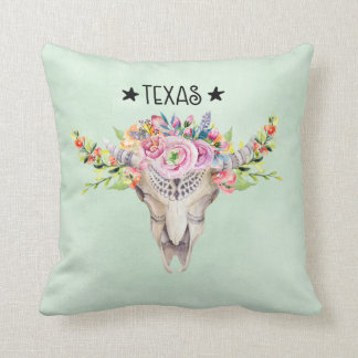 Texas Boho Cow Skull With Flowers Chic Trendy Throw Pillow