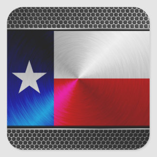 Texas brushed metal flag sticker