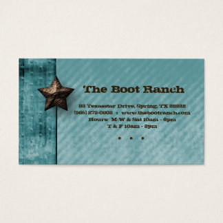 Texas Business Card Denim Jean Star Turquoise Blue