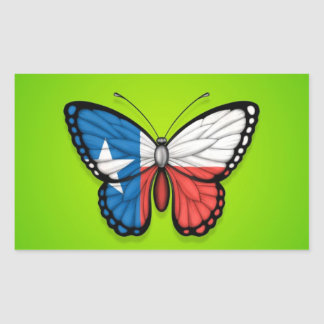 Texas Butterfly Flag on Green Rectangle Stickers