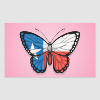 Texas Butterfly Flag on Pink Rectangle Sticker