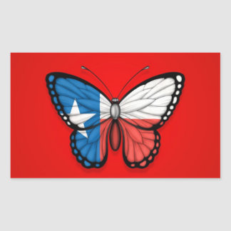 Texas Butterfly Flag on Red Stickers