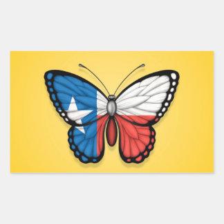 Texas Butterfly Flag on Yellow Rectangular Sticker
