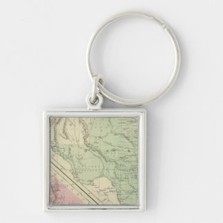 Texas, California Silver-Colored Square Key Ring