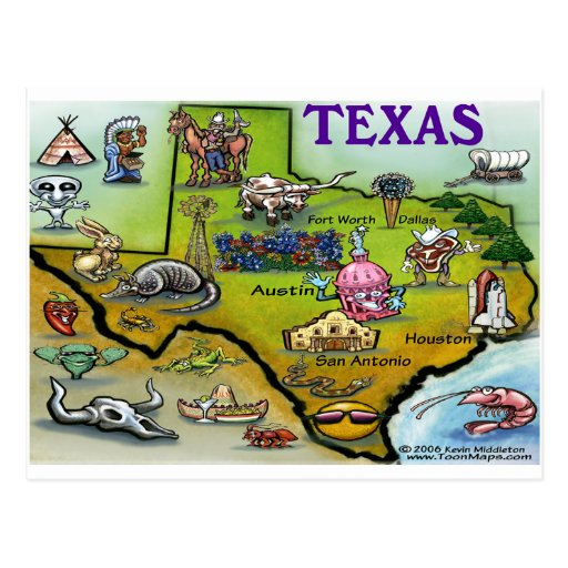 TEXAS Cartoon Map Postcard
