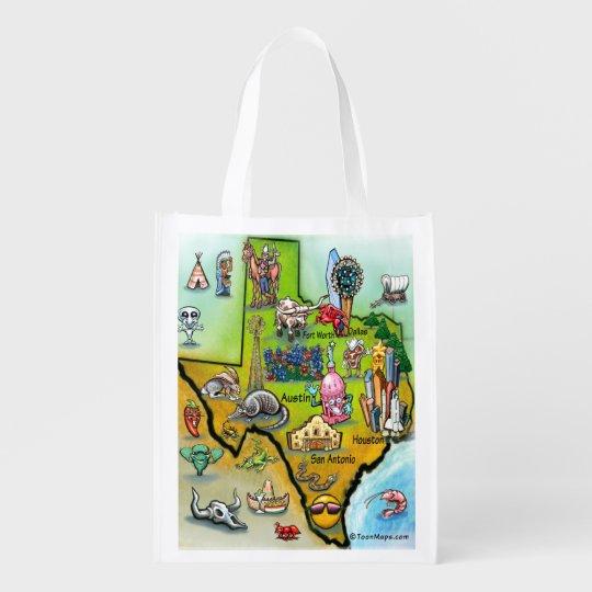 Texas Cartoon Map Reusable Grocery Bag