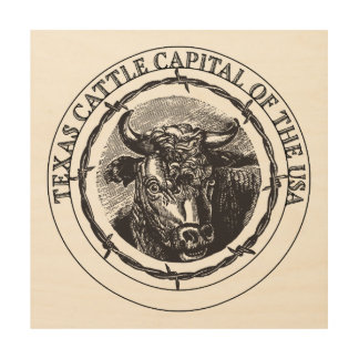 Texas Cattle wood wall print