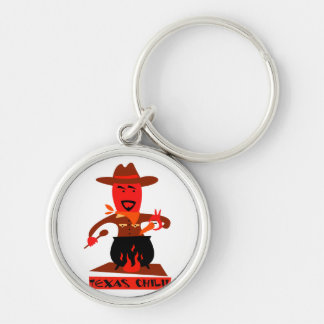 Texas chili cartoon man cooking Silver-Colored round key ring