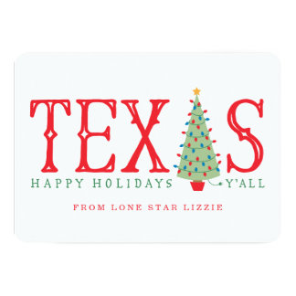 Texas Christmas Tree Happy Holidays Card or Invite