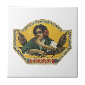 Texas Cigar Label Small Square Tile