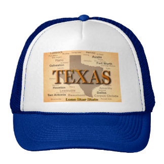Texas Cities and Towns State Pride Map Cap