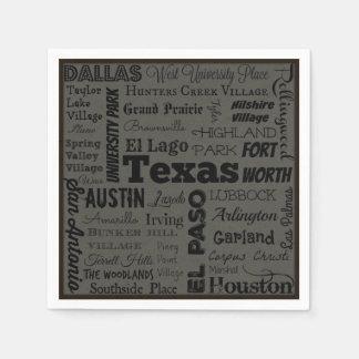 Texas cities typography napkins disposable serviettes