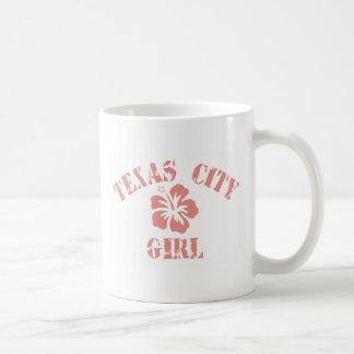 Texas City Pink Girl Basic White Mug