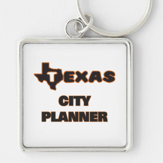 Texas City Planner Silver-Colored Square Key Ring