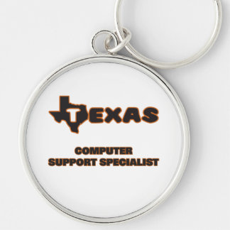 Texas Computer Support Specialist Silver-Colored Round Key Ring
