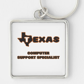 Texas Computer Support Specialist Silver-Colored Square Key Ring