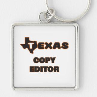 Texas Copy Editor Silver-Colored Square Key Ring