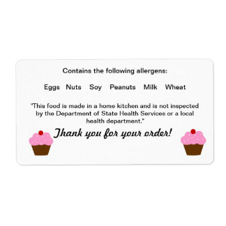 Texas Cottage Food Law Label