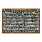 Texas County Courthouses Poster (brown horizontal)