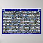 Texas Courthouses Poster (blue horizontal)