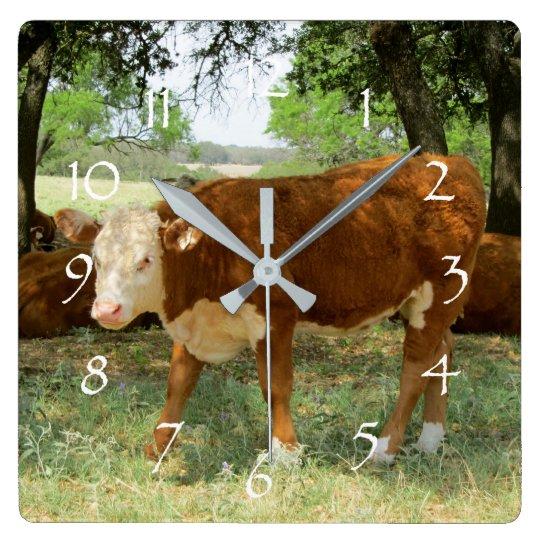 Texas Cow Landscape Square Wall Clock