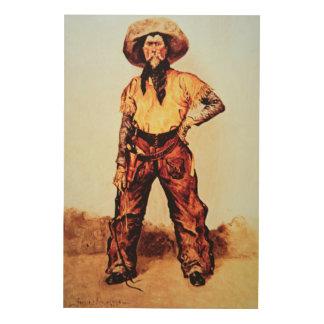 Texas Cowboy, c.1890 (oil on canvas) Wood Print