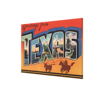 Texas (Cowboy Roping Bull)Large Letter Scenes Canvas Print