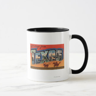 Texas (Cowboy Roping Bull)Large Letter Scenes Mug