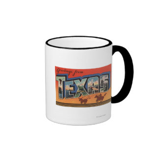 Texas (Cowboy Roping Bull)Large Letter Scenes Mugs