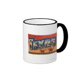 Texas (Cowboy Roping Bull)Large Letter Scenes Ringer Mug