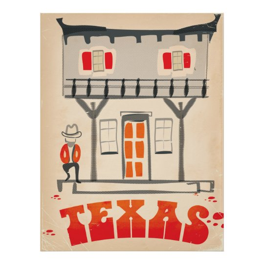 Texas Cowboy Vintage Style travel poster