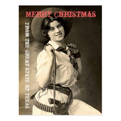 Texas Cowgirl Christmas Greetings Postcard