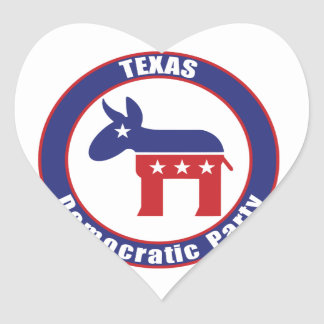 Texas Democratic Party Heart Stickers