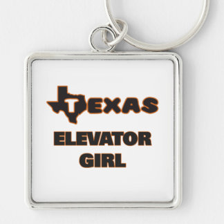 Texas Elevator Girl Silver-Colored Square Key Ring