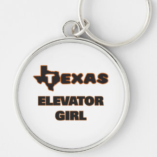 Texas Elevator Girl Silver-Colored Round Key Ring