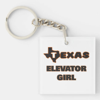 Texas Elevator Girl Single-Sided Square Acrylic Key Ring