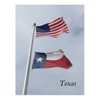 Texas Flag and United States Flag Post Card