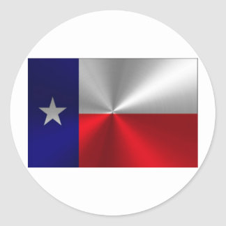 Texas Flag Brushed Metal Round Stickers