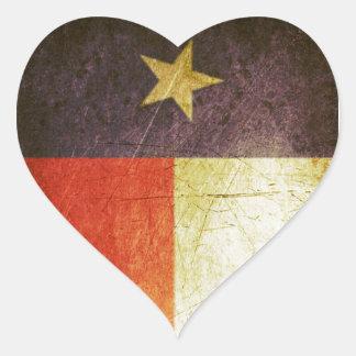 Texas Flag Grunge effect Heart Stickers