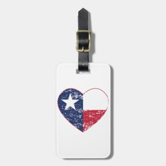 Texas Flag Heart Distressed Luggage Tag